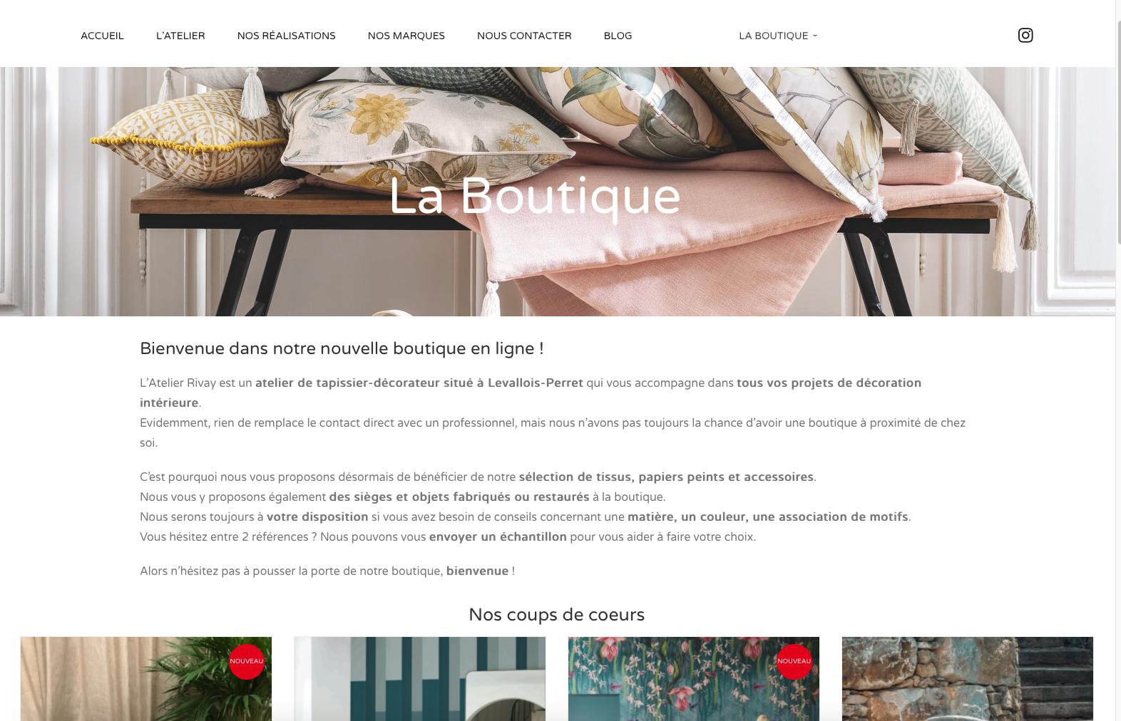 vente de tissu et papiers peints Atelier Rivay